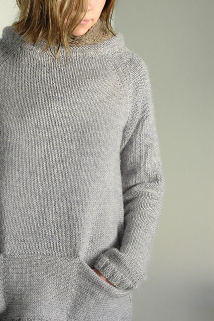 Grey wool and angora blend tunic sweater with boat neck and pocket detail