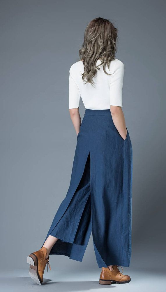 Blue Culottes pants Women Pants Loose fit pants Linen от YL1dress