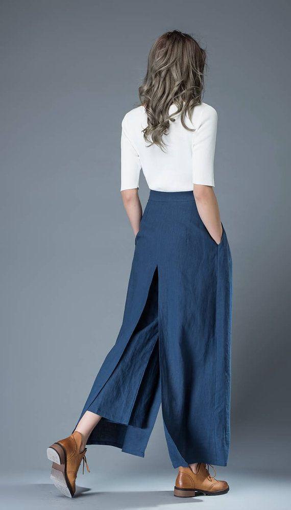 Blue Culottes pants Women Pants Loose fit pants Linen от YL1dress