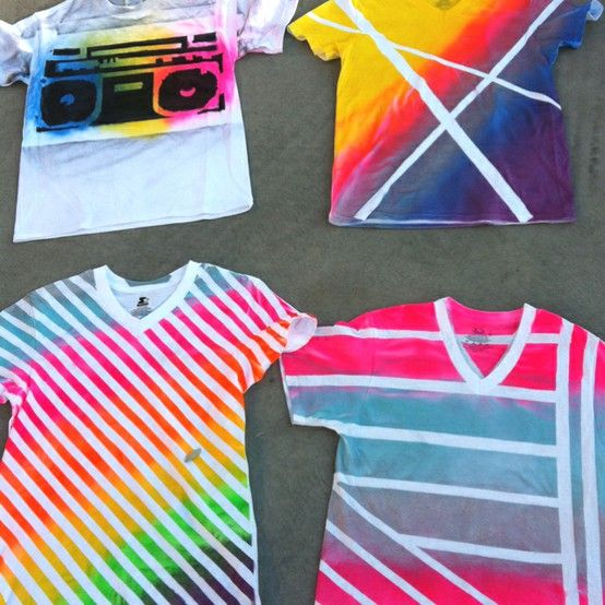 Spray paint shirts and use duck tape for designs. DOING this for summer!