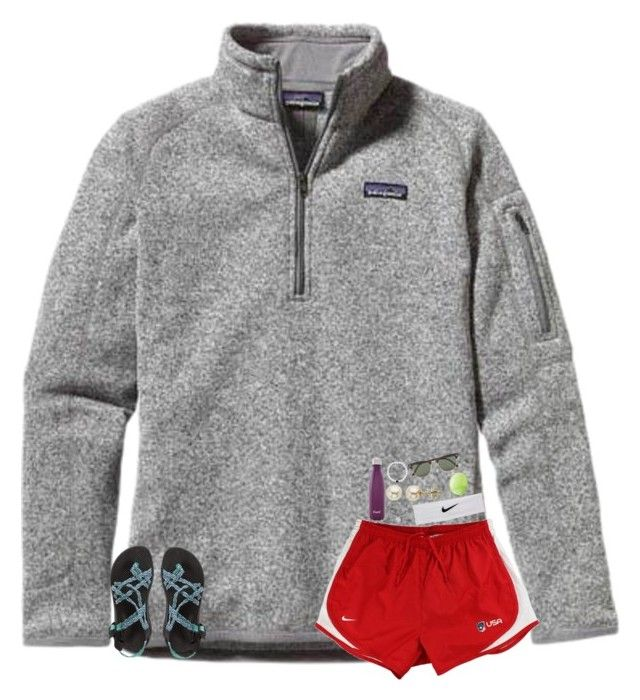 """""""Loving the Olympics!"""" by breezerw ❤ liked on Polyvore featuring Patagonia, NIKE, S'well, Alex and Ani, Lord & Taylor, Eos, Ray-Ban and Chaco"""