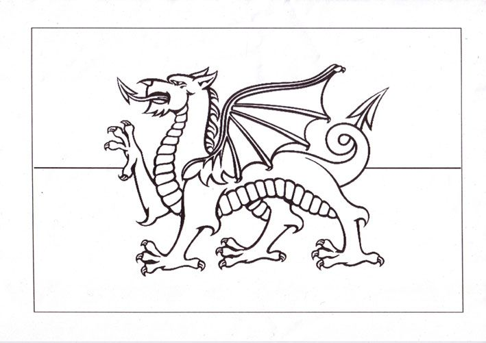 Welsh+Flag+Colouring+Page crafts for children Flag coloring