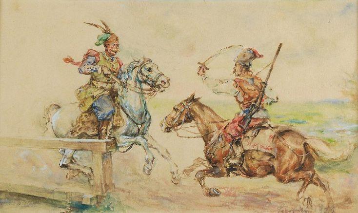 Tadeusz SZEWCZYK-BARWECKI (1912-1999)  Potyczka, 1919 akwarela, papier; 18,5 x 331,5 cm (w świetle oprawy); data p. d.: Sierpień 1929 (ołówkiem)