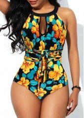 Floral Print Cutout Back Keyhole Neckline One Piece Swimwear | Rosewe.com – USD …
