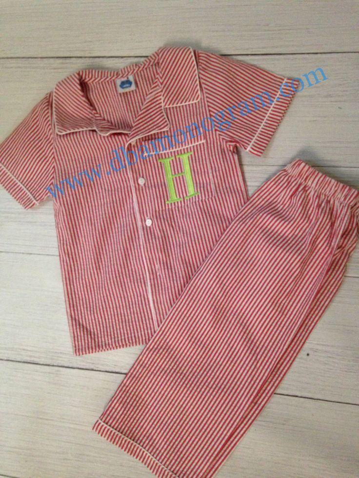 Boys Red Seersucker Loungewear Christmas Pajama, Pj, Toddlers Christmas Pajamas by DesignsbyApril1234 on Etsy https://www.etsy.com/listing/251035270/boys-red-seersucker-loungewear-christmas