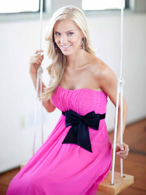 Pretty A-line Empire waist Chiffon bridesmaid dress. Pink and navy! This is cute!