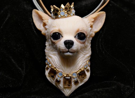 Beautiful lifelike crowned chihuahua dog.   ONE OF A KIND  Once it sells, it is gone.  ITEM DESCRIPTION: ● Materials Polymer clay (fimo