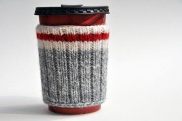 Hand Knit Hiking Camping Coffee Cup Cozy - Take a Hike by downgirl for $14.00