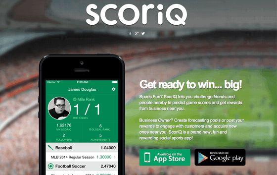 ScorIQ 友達と試合結果を予想することができるアプリを展開している。 「勝ったほうが近くのお店のクーポンをもらえる」