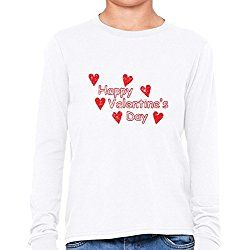 Beautiful Happy Valentine's Day Red Heart Graphic Girl's Long Sleeve T-Shirt