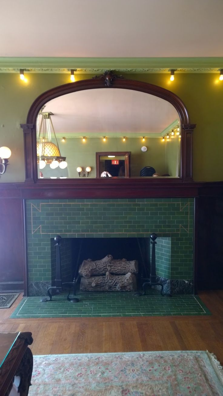 Tiled fireplace. 1897 Pleasant Home, designed by George Maher. Queen Anne's Revenge: a very Pleasant Home