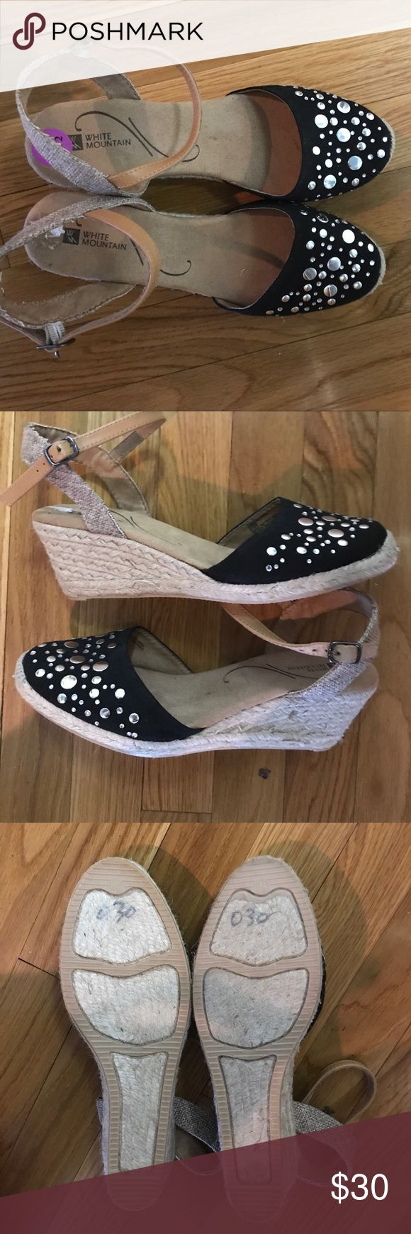 NWOB White Mountain Espadrilles Embellished Wedges White Mountain Espadrilles with Black And Silver Dot Embellished Fronts, leather Straps, Burlap suede heel strap Never worn White Mountain Shoes Espadrilles