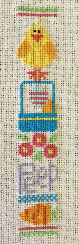 completed cross stitch Lizzie Kate Easter Chick Peep
