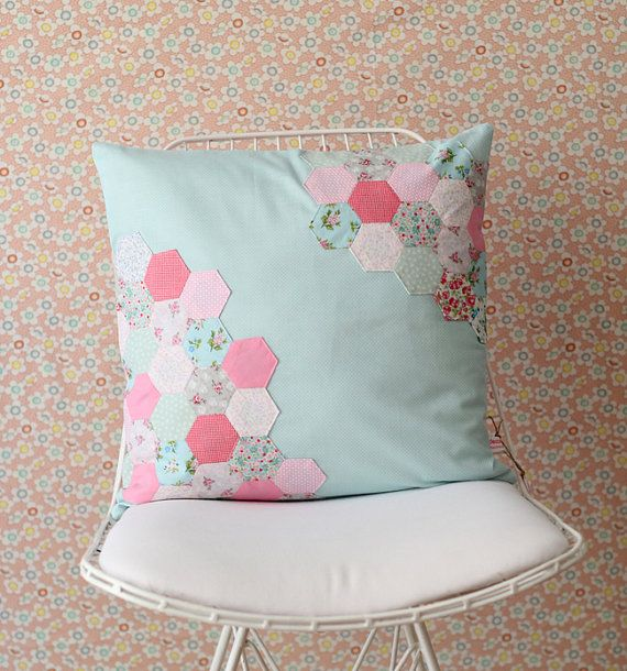 Hexagon Patchwork Pillow Cover