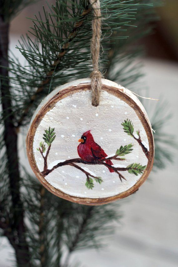 Snowy Cardinal Wood Slice Rustic Wood Decor Wooden Ornament Hand Painted Ornament Christmas Wood Crafts Wood Christmas Ornaments Painted Christmas Ornaments