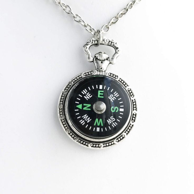 Working Compass Necklace / Pick your Length / Silver Pocket Watch Style Pendant Steampunk Costume Cosplay Lover Gift Pirate Renaissance Fair by lydiasvintage on Etsy https://www.etsy.com/listing/503547498/working-compass-necklace-pick-your