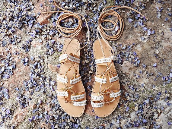 Amelia Sandals  Bridal & Boho chic handmade leather sandals with adjustable leather straps adorned with gold plated charms, crystal stones and lace in