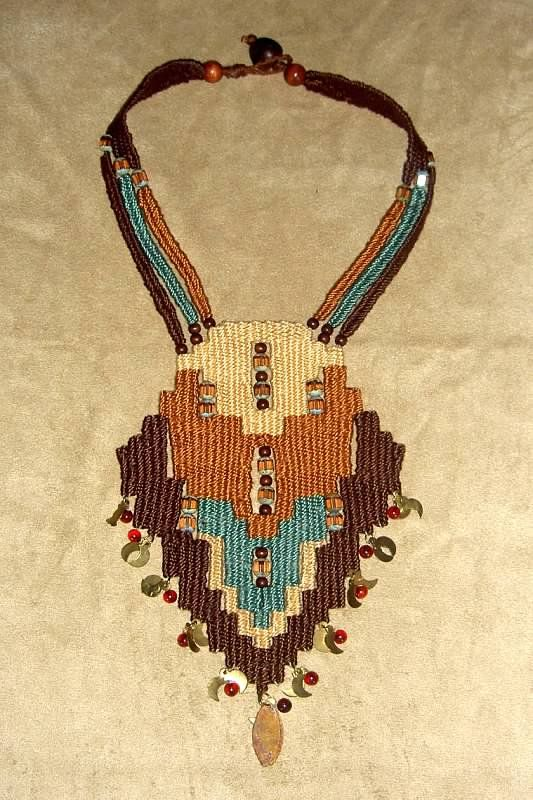 """""""Fields"""" - 1997 - Fixed Length, PERSONAL COLLECTION.  Woven by Terri Scache Harris, theravenscache.shutterfly.com   Hand woven, handwoven, weaving, weave, needleweaving, pin weaving, woven necklace, fashion necklace, wearable art, fashion necklace, fiber art."""
