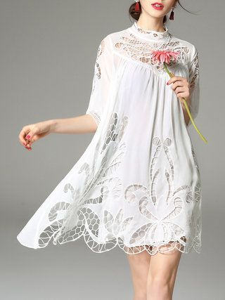 Half Sleeve Casual Plain Two Piece Mini Dress - StyleWe.com