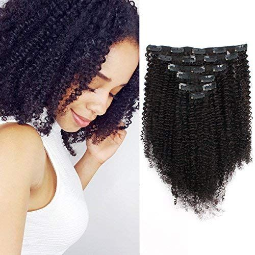 Enjoy exclusive for ABH AmazingBeauty Hair 8A Grade Big Thick Real Remy Human Hair 3C 4A Afro Curly Double Weft Clip In Extensions African American Black Women, 3C 4A, Natural Black, 120 Gram, 14 Inch online