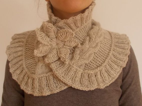 Hand Knit Neck Warmer With brooch by vivighiocel on Etsy