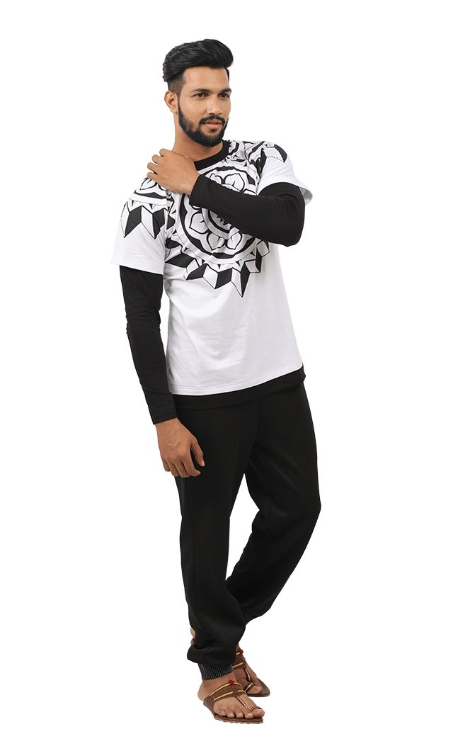 White & Black Cotton Baahubali 2 Wreath Tee & Pitch Dark Joggers