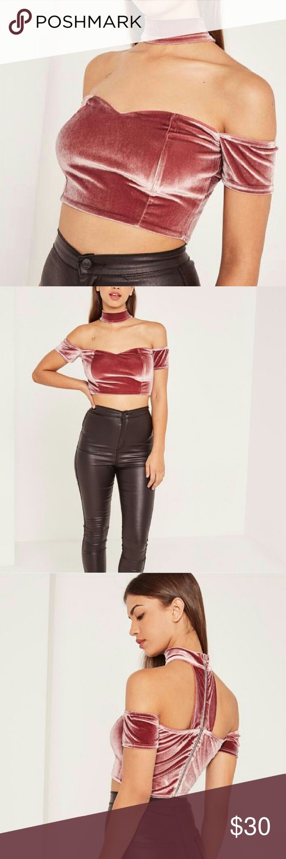 Missguided Pink Velvet Chocker Neck Bardot Top Crop top is brand new with tags!  Style: Pink Velvet Chocker Neck Bardot Crop Top Size: 8 Regular/ Medium Color: Pink Missguided Tops Crop Tops