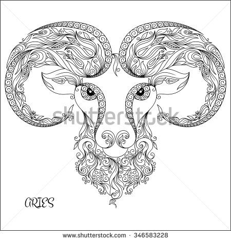 Pattern for coloring book. Hand drawn line flowers art of zodiac Aries. Horoscope symbol for your use. For tattoo art, coloring books set. Henna Mehndi Tattoo Ethnic Zentangle Doodles style. - stock vector