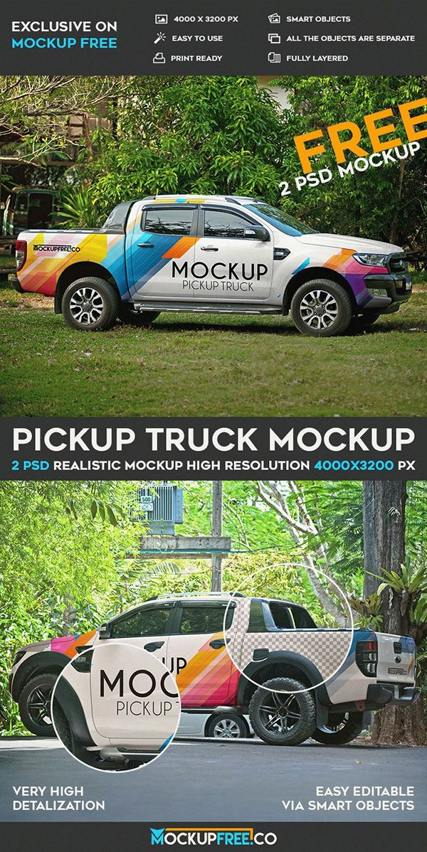 Download 31 Best Car Truck Van Mockups Psd Free Premium Mockup Free Psd Mockup Psd Pickup Trucks PSD Mockup Templates