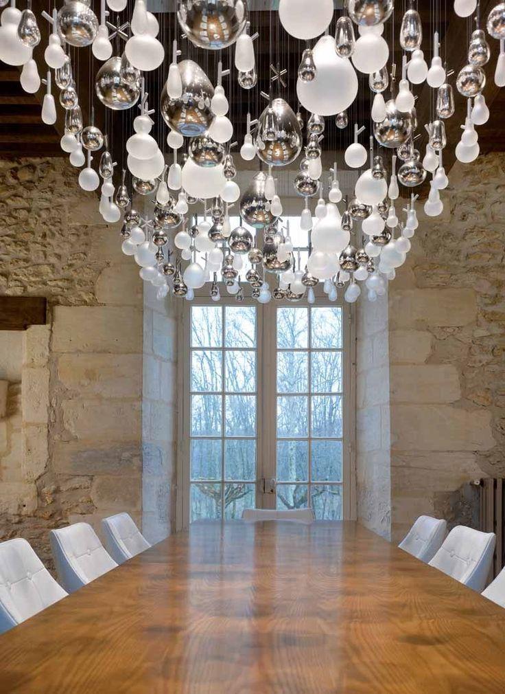 DESIGN INDIRECT LIGHT GLASS CHANDELIER GROWING VASES LIGHTING SCULPTURES COLLECTION BY LASVIT | DESIGN NENDO