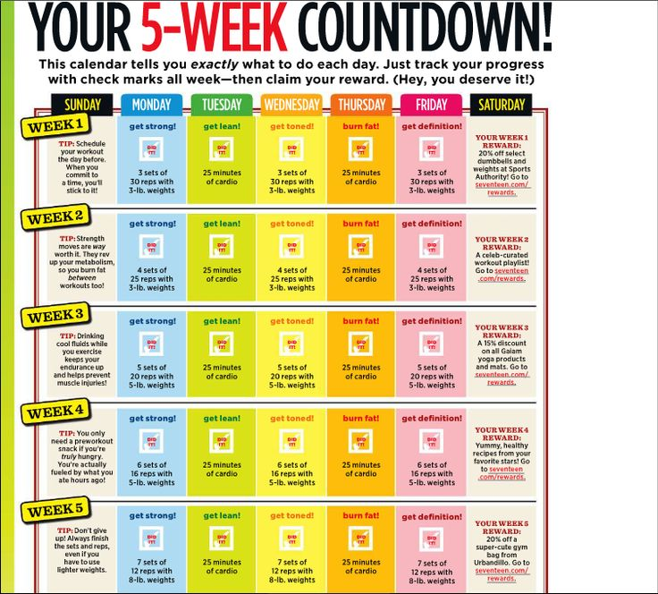 Weekly Routine Calendar : Best workout plan things to do before spring summer