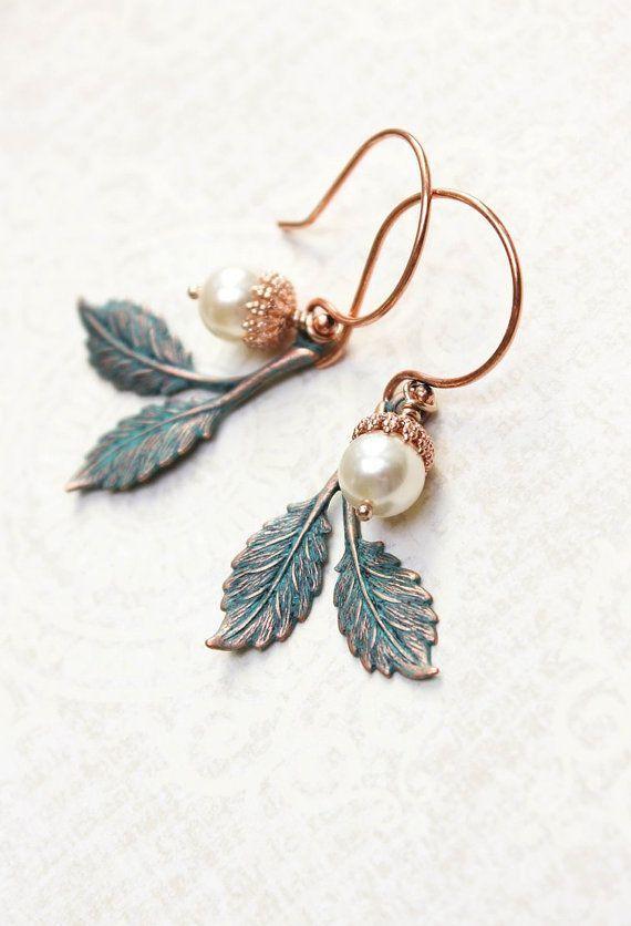 Patina Branch Earrings Rose Gold Drop Pearl
