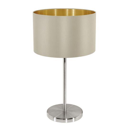 Lampa stołowa Maserlo wykonana jest z metalu i materiału w kolorze brązu i złota