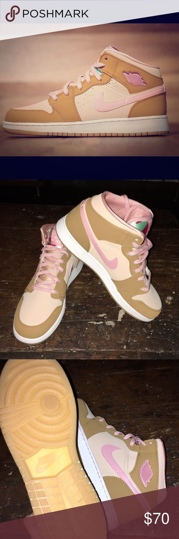 Air Jordan 1 MID Lola Bunny size L10.5, M9, EU42.5 Air Jordan 1 MID Lola Bunny size L10.5, M9, EU42.5, UK8-- technically these are men's, but can be worn by women too! Lola bunny (Space Jam) Nike Air Jordan's! Light pink w/ 2 shades of tan. These are fun, would make a great holiday present! New, no tags, no box-- slight stain on the inside of the right shoe (see last pic) Nike Shoes Sneakers