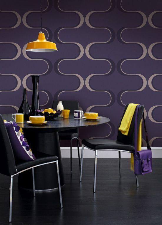 Empapelado - Contemporaneo violeta y crudo - Papel de parede