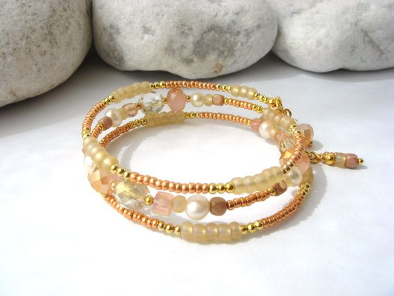 Set Bangle and/or earrings. Peach Crystal and by NoDittoDesign