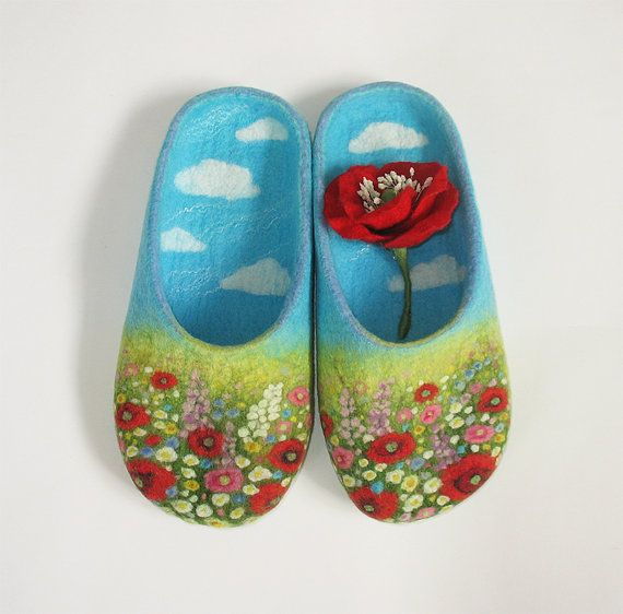 Alpine meadow handmade felt slippers MADE TO ORDER by SultanFelt, $150.00