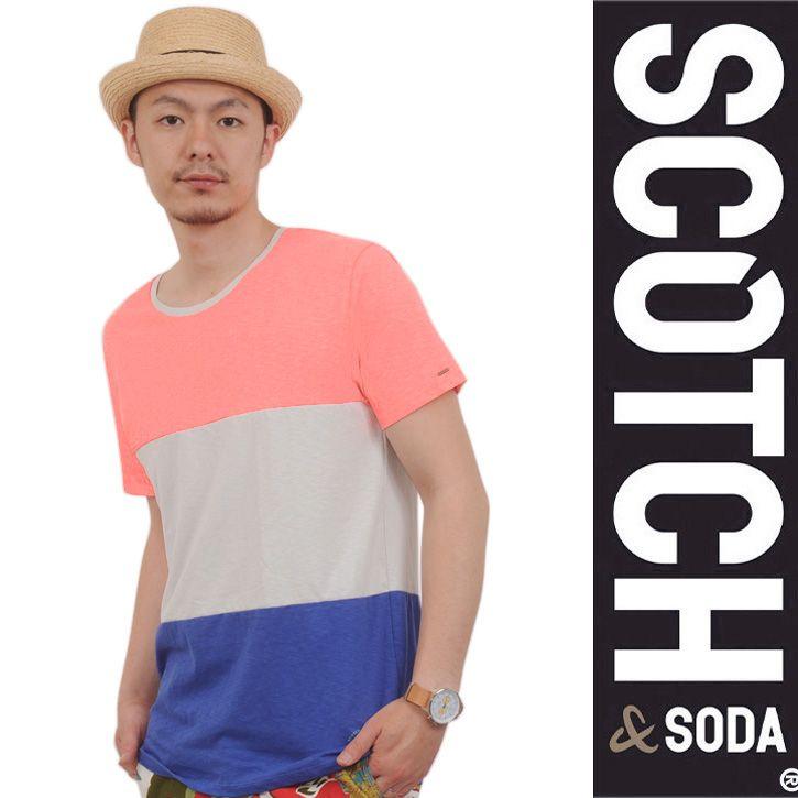 SCOTCH(スコッチアンドソーダ) Tシャツ サーモンピンク×グレー×ブルー SC51137-31 Col.A ts-sc-151
