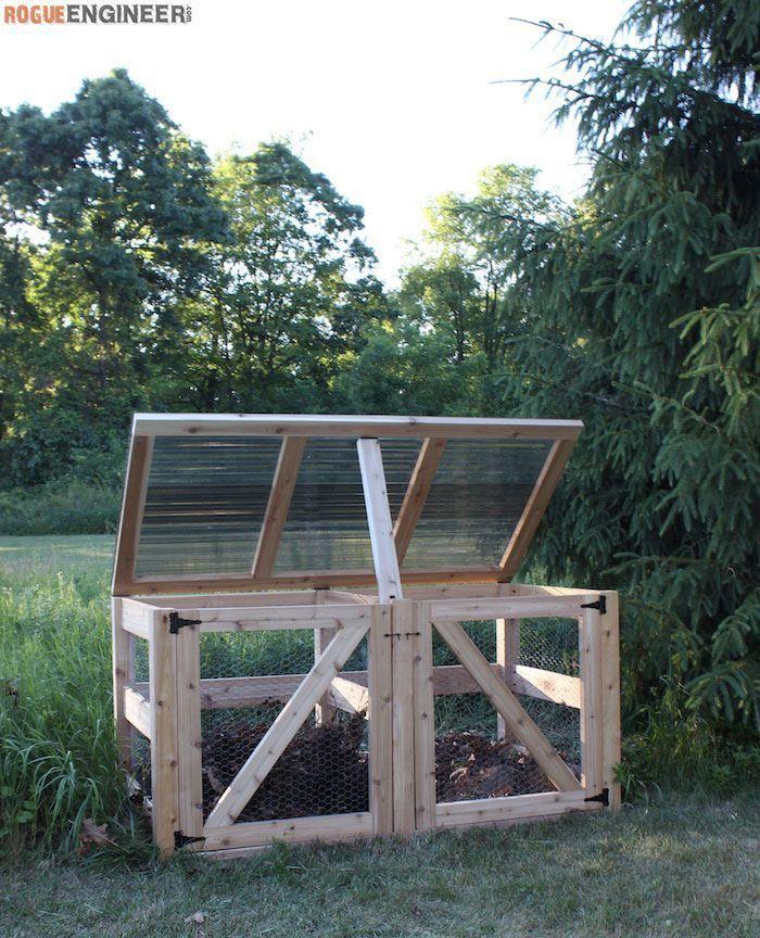 DIY Double Compost Bin Plans - Free Plans   http://rogueengineer.com #DoubleCompostBin #OutdoorDIYplans