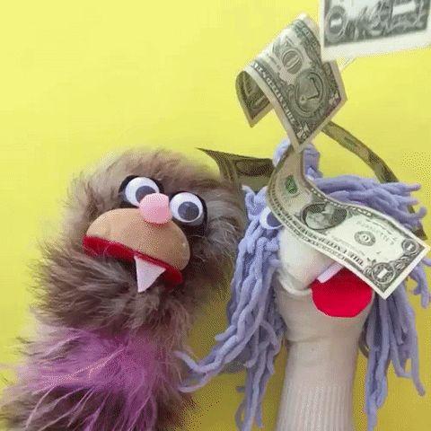 money puppet make it rain payday hazelnut blvd #humor #hilarious #funny #lol #rofl #lmao #memes #cute