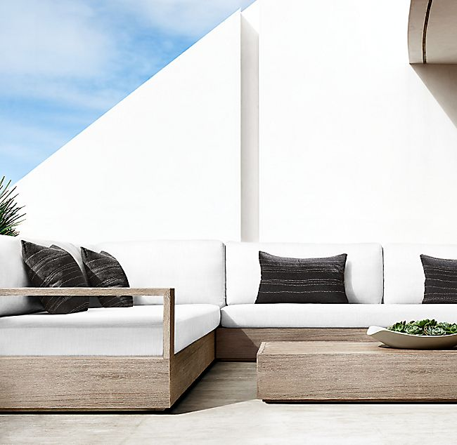 Marbella Teak Luxe Right Arm L Sectional Restoration Hardware