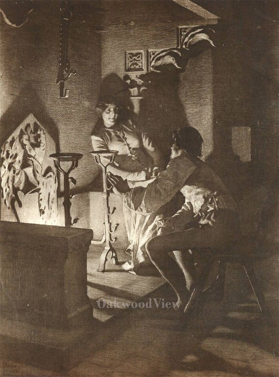 Rinaldo & the Lady by Tito Lessi, Antique 10x12 Sepia Engraving c1890s, From The Decameron by Giovanni Boccaccio, FREE SHIPPING $11.75