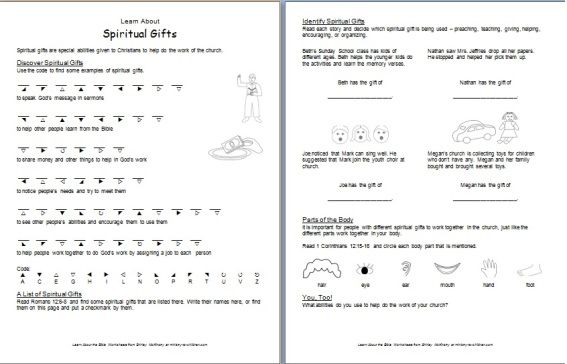 Learn About Spiritual Gifts Printable Bible Worksheets