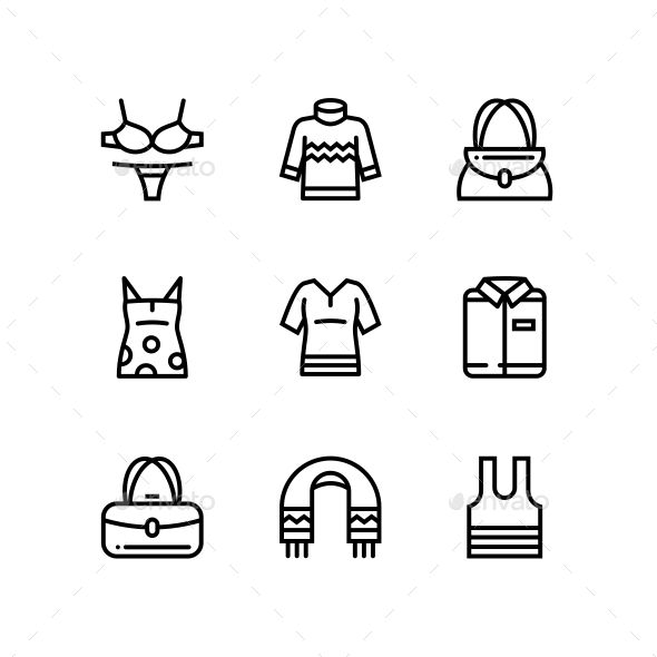 Clothes and fashion line icons pack for mobile or web design. Fully resizable/ed…