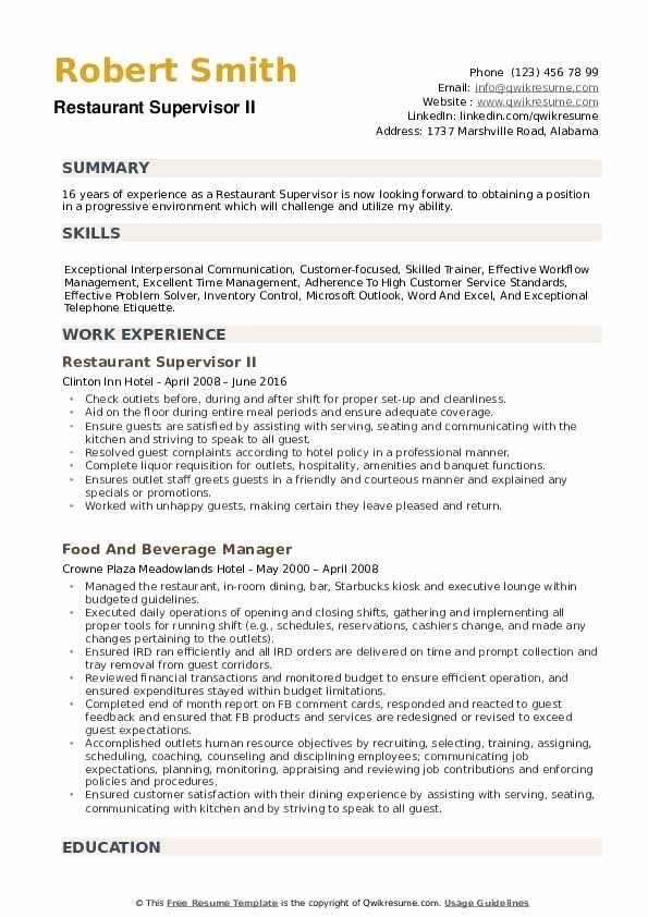 Restaurant Manager Resume Samples Pdf Lovely Restaurant Supervisor Resume Samples Resume Examples Manager Resume Restaurant Management