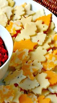 A variety of cheese cut with leaf-shaped cookie cutters make a quick and appealing appetizer for the holidays ❊