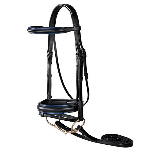 Dover Saddlery Premier Piped Dressage Bridle   Dover Saddlery     WIth NAVY