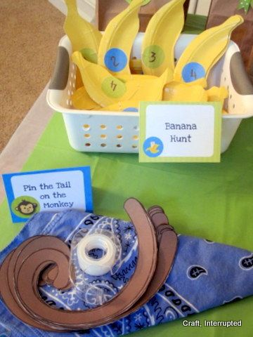 Fun monkey games for the kids to play- child can pin bananas to monkey's hand on poster board after answering What has God provided for you that you can share with others?
