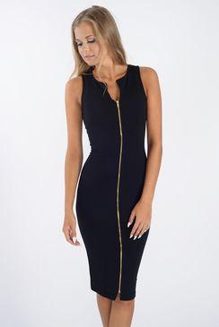 Nina Zip Front Black Bodycon Dress