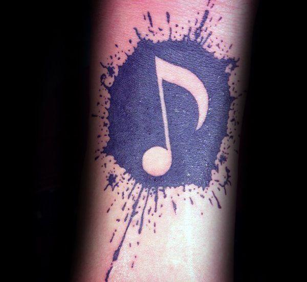 Malen Sie Splatter-Männer-Musik-Anmerkung Negative Space Kleine Unterarm Tattoo